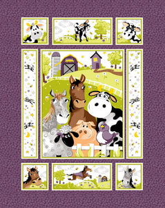 Purple Barnyard Buddies Panel 36in by Susybee collections Cotton Fabric 20323-815