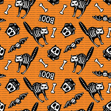 Glow Ghosts Tossed Bones of Motifs in Orange by Shelly Comiskey for Henry Glass Quilting Cotton Fabric HG-9606G-33 Orange