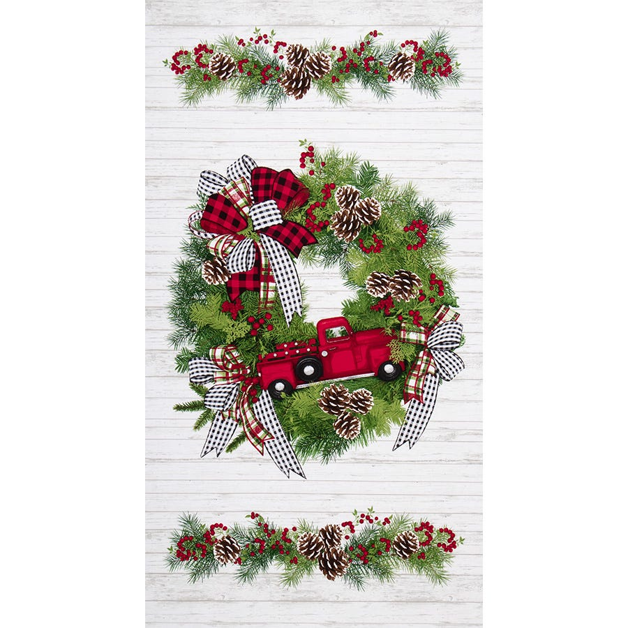 I'll Be Home for Christmas Multi Wreath & Red Truck Quilt Panel
