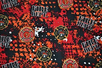 Sykel Fireman Firefighter Cotton Fabric-Firefighter Fireman Quilting Fabric-1180FF