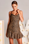 COCO Tweed Dress in Black/Tan