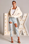 TILLIE FAUX FUR JACKET IN WHITE