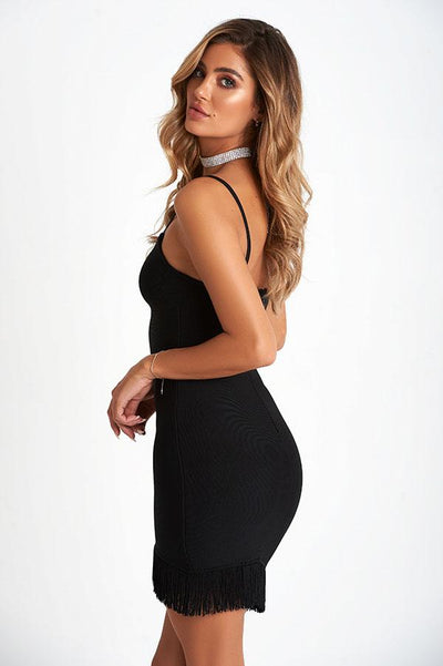 Antoinette Luxe Bandage Dress In Black