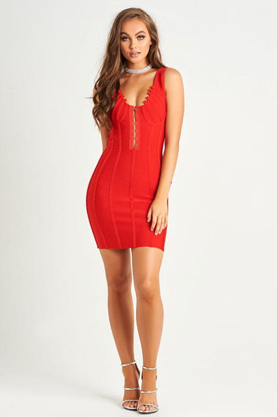 Bey Luxe Bandage Dress in Red