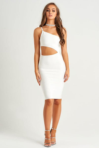 Charlotte White Bandage Cut Out Dress