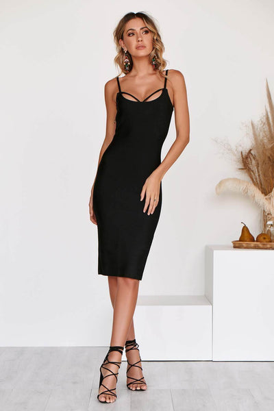GISELLE LUXE BANDAGE DRESS IN BLACK