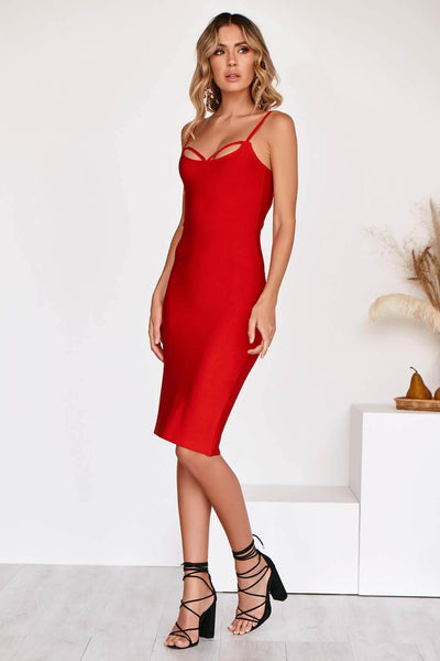 GISELLE LUXE BANDAGE DRESS IN RED