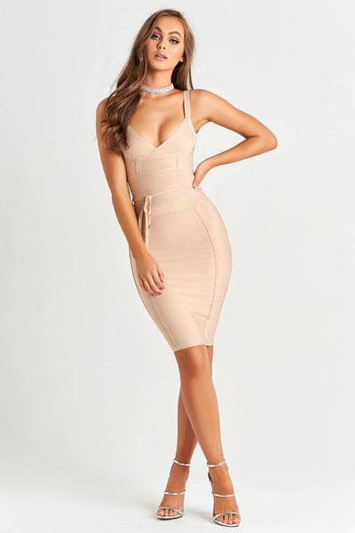 Isabella Luxe Bandage Dress in Nude