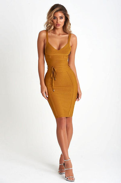 Isabella Luxe Bandage Dress In Bronze