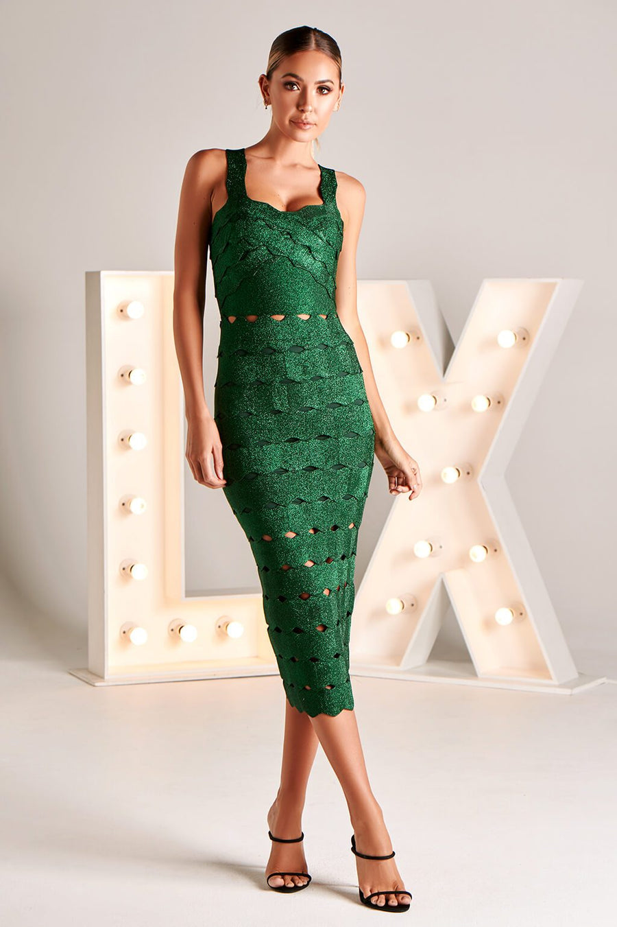 LAURETTA LX BANDAGE DRESS IN EMERALD
