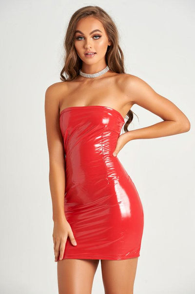 Sassy Faux Leather Dress in Red