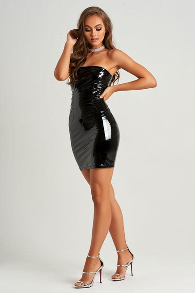 Sassy Faux Leather Dress in Black