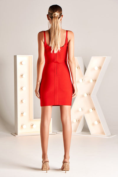 ALANA LX BANDAGE DRESS IN RED