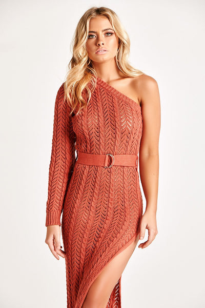 ANYA KNIT MAXI DRESS IN RUST