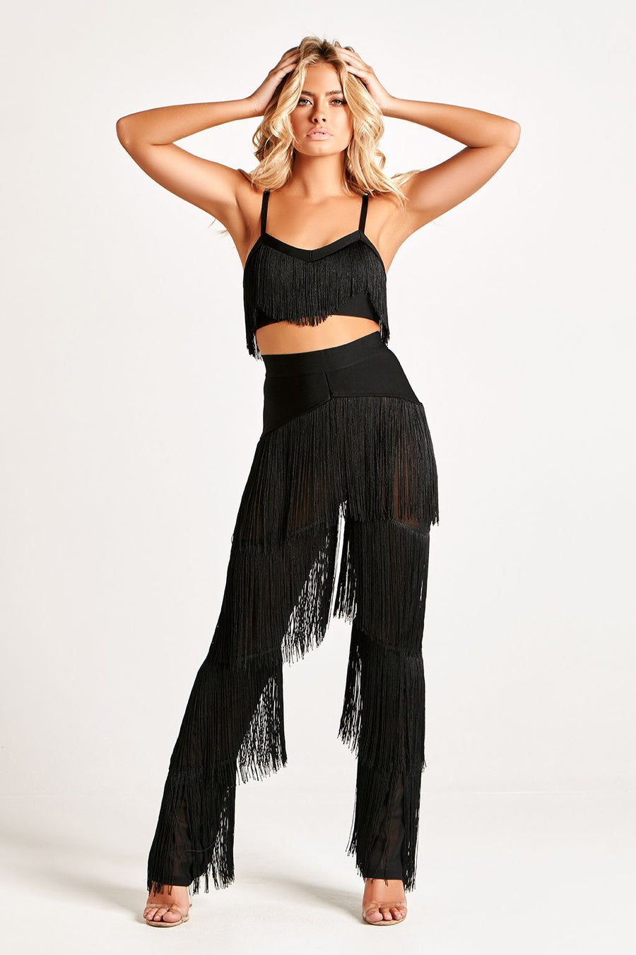 COLLETTE LUXE BANDAGE FRINGE CROP TOP IN BLACK