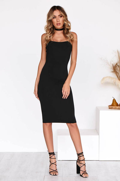 IVY MIDI Dress in BLACK