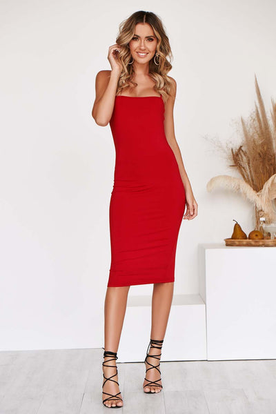 IVY MIDI Dress in RED