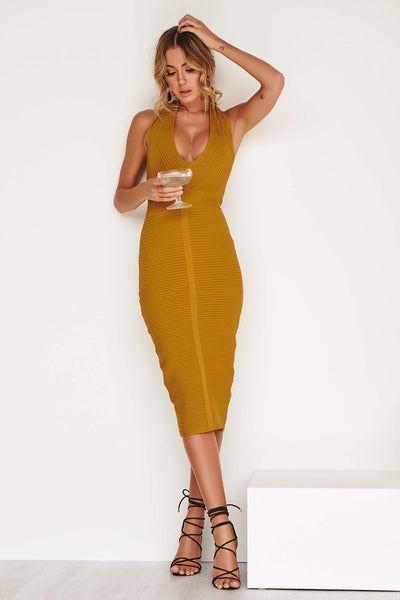 JAYDE LUXE BANDAGE DRESS IN BRONZE