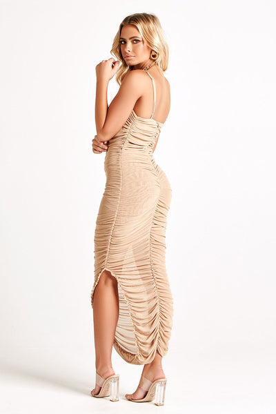 KENDRA MIDI DRESS IN NUDE