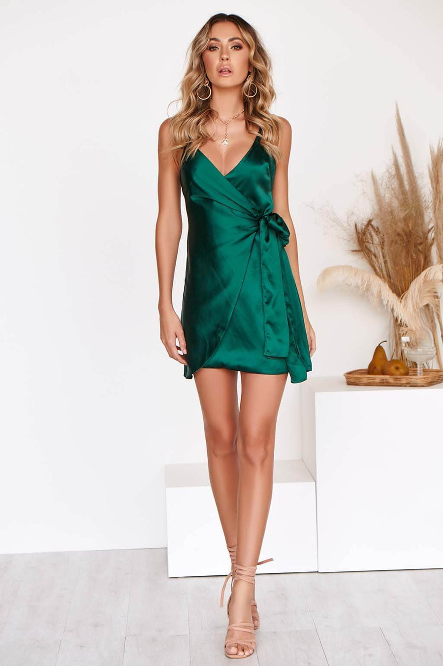 KNOTTED LOVE DRESS IN EMERALD GREEN