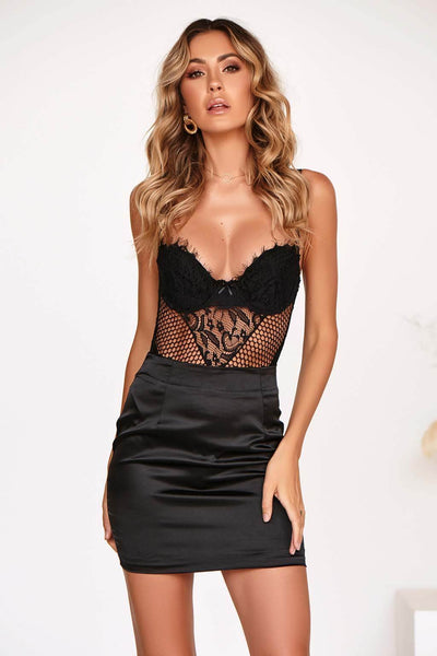 KOKO LACE BODYSUIT IN BLACK