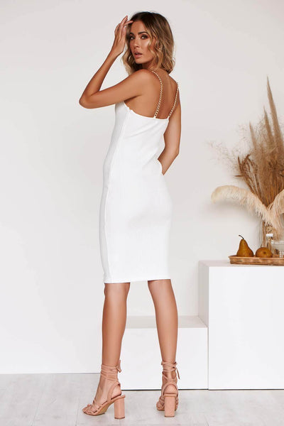 LATIKA LX BANDAGE DRESS IN WHITE
