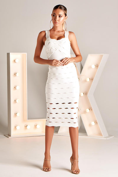 LAURETTA LX BANDAGE DRESS IN WHITE