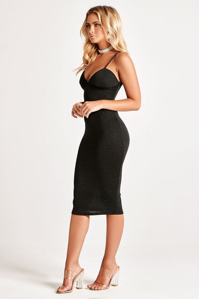 Polly Midi DRESS in SHINY BLACK
