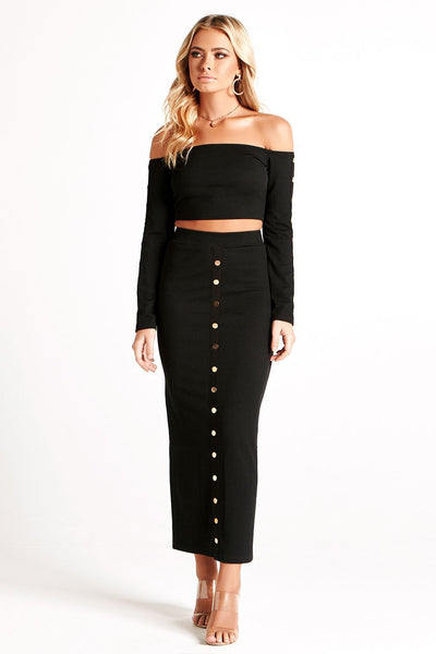 SOFIA RIBBED JERSEY SET in BLACK