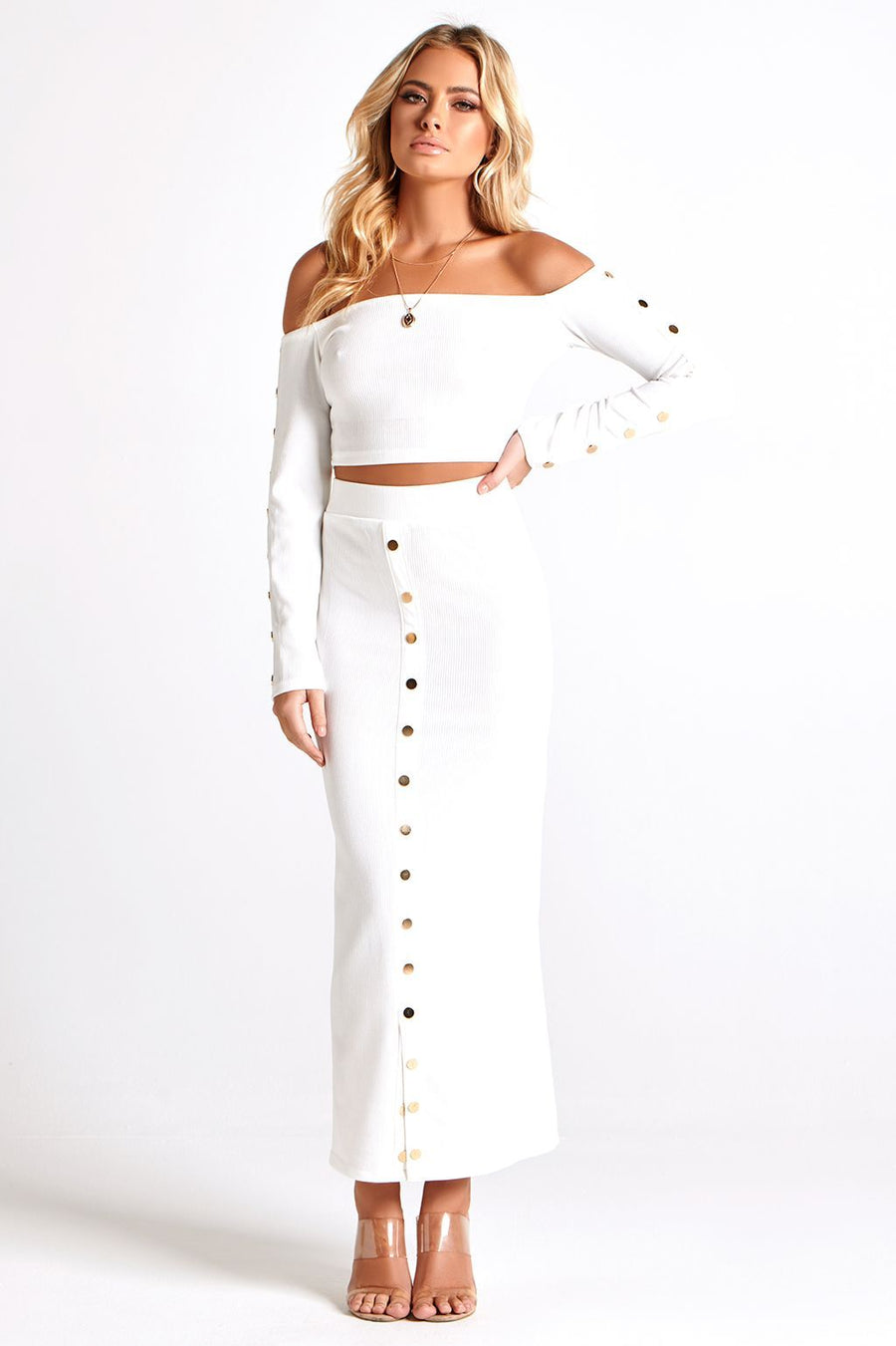 SOFIA RIBBED JERSEY SET in WHITE