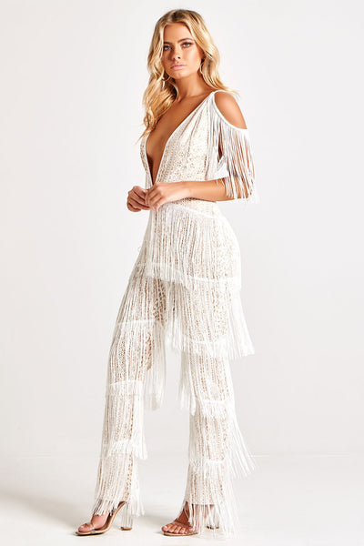 SOLANGE LUXE TASSELS BANDAGE JUMPSUIT IN WHITE