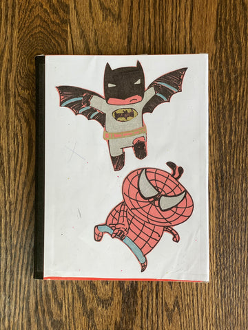 Cover of 3 year old's Chinese Dictation Journal (Batman and Spiderman doodles)