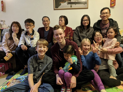 Chinese Family with American Family in Chinese Home