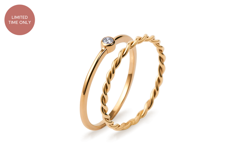 Twisted Diamond Ring Set