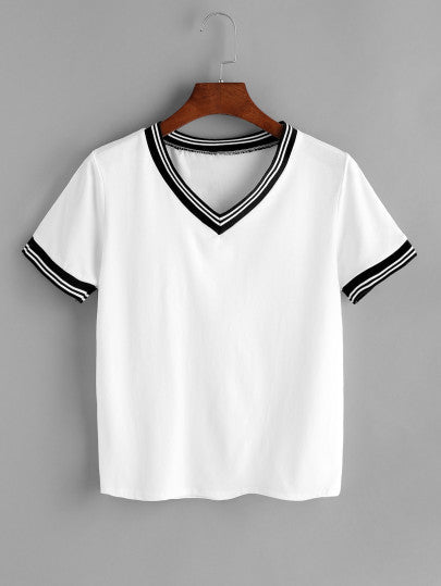 Striped Trim V-Neck Tee - Complete Kid Shop