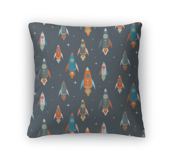 Throw Pillow, Colorful Spaceships - Complete Kid Shop