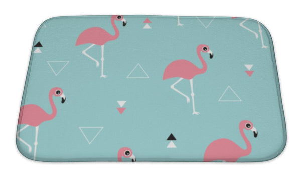 Bath Mat, Blue Ocean And Pink Summer Flamingos - Complete Kid Shop