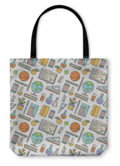 Tote Bag, School Supplies Pattern On White - Complete Kid Shop