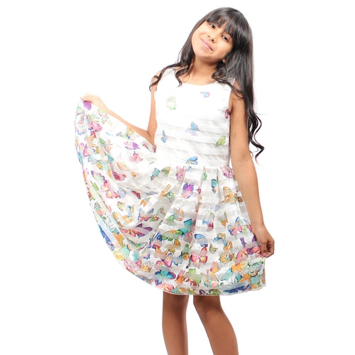 White Sleeveless Butterfly Printed Knee High Girls Dress - Complete Kid Shop