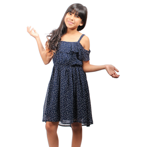 Navy Sleeveless Cold Shoulder Polka Dot Dress - Complete Kid Shop