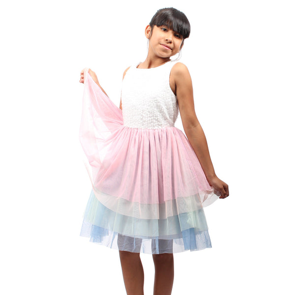 White Sleeveless W/ Rainbow Tutu Bottom Split Girls Dress - Complete Kid Shop