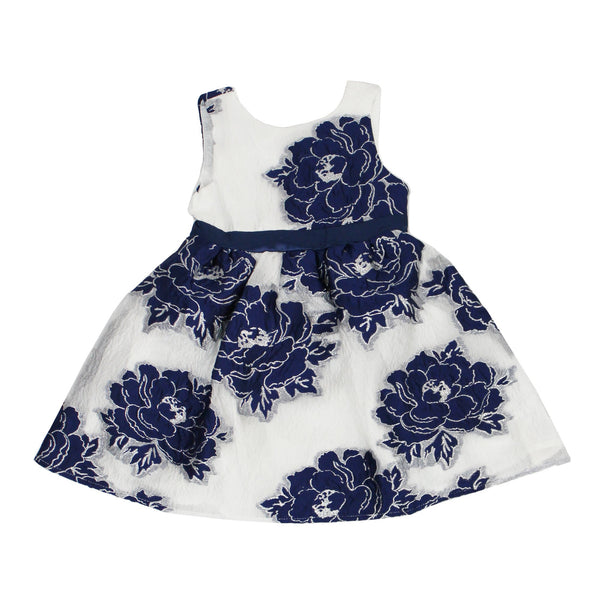 White Dress With Blue Large Rose Stitch Design Back Zipper - Complete Kid Shop