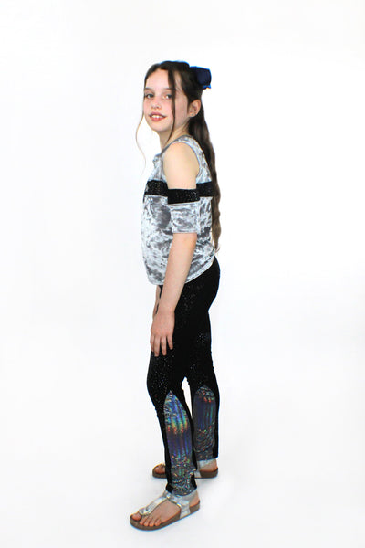 Silver Crushed Velvet and Glitter Top - Complete Kid Shop