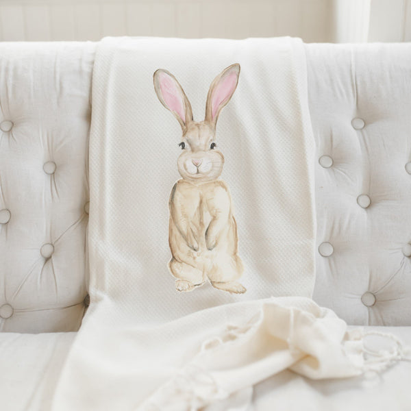 Bunny Watercolor Throw Blanket - Complete Kid Shop