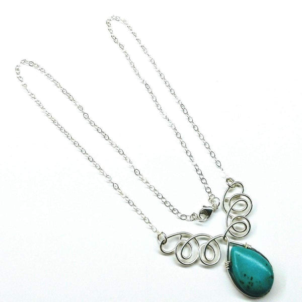 Turquoise Drop Sterling Silver Wire Wrapped Necklace - Complete Kid Shop