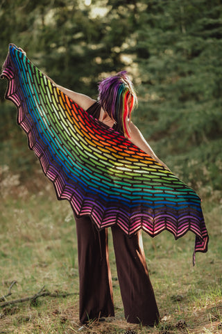 Rainbow Painting Bricks Shawl by Andrea Shanti