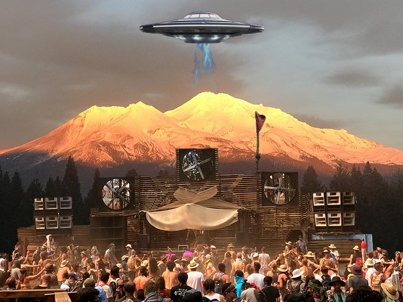 Mount Shasta Beam Me Up Party card