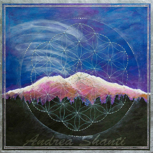 Alpine Glow Mt Shasta with Crystal Flower of Life - Acrylic with Swavrovski crystals w/ silver leaf