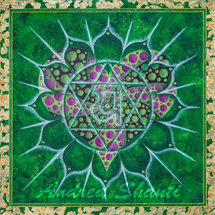 4th Chakra - Anahata- Acrylic w/ Swarovski Crystals and Gold Leaf