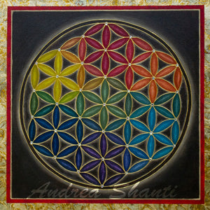 Earth Rainbow Flower of Life - Acrylic with Swarovski crystals w/ gold leaf